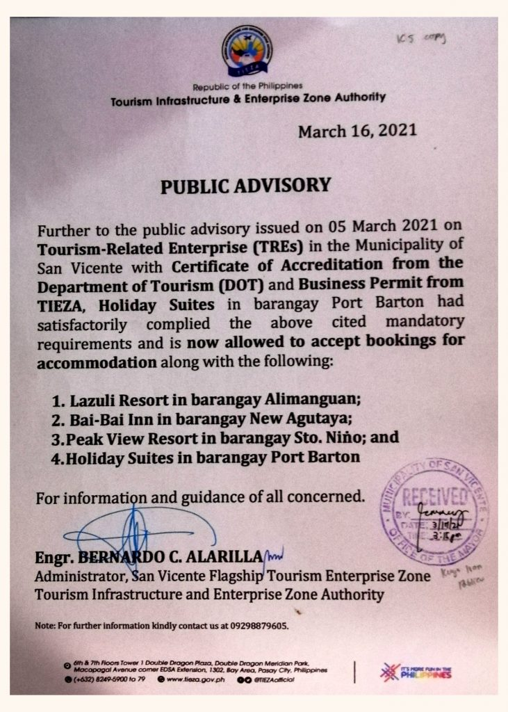 san-vicente-palawan-dot-accredited-establishments