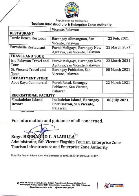 san-vicente-palawan-list-of-updated-tourism-related-establishments