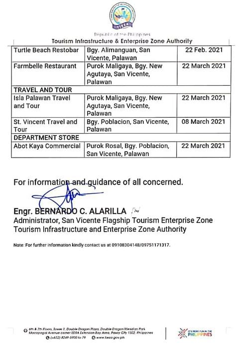 san-vicente-palawan-updated-list-of-tourism-related-establishments